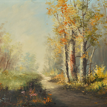 Oil on Canvas-Path through Woods--Part 1 - Fine Art