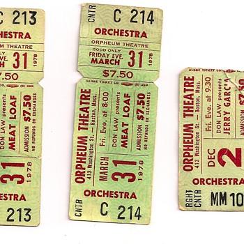 Jerry Garcia Band Decemeber 1977 Orpheum Theater Boston, MA - Music Memorabilia