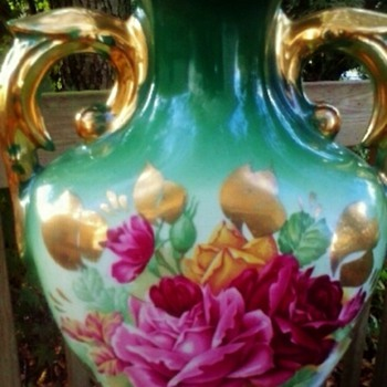 Antique green urn shape Lamp roses and gold