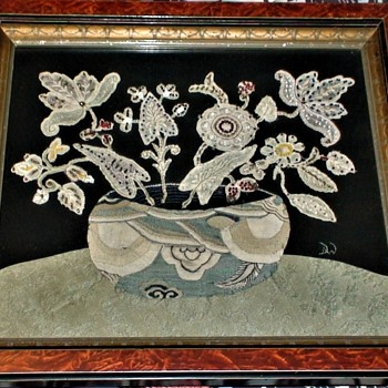Venetian Lace Handmade Floral Picture 1920s Initialed - Sewing