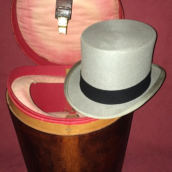 Austin Reed Double Top Hat Case with Austin Reed Grey Wool Felt Top Hat - Hats
