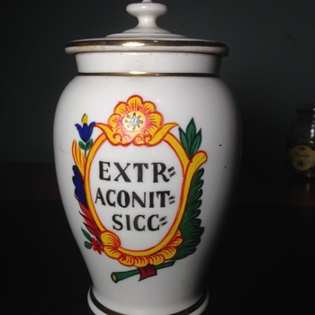 19th Century German Aconite Porcelain Apothecary Jar Identification - Pottery