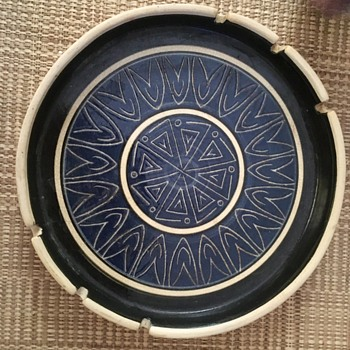Blue Art Pottery Ashtray - Pottery