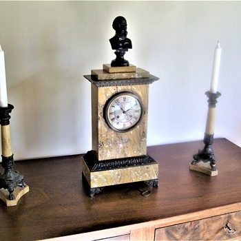 French clock garniture set with a pair of candlesticks - Clocks