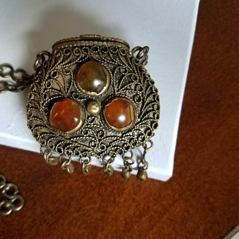 Unusual Basket Pendant with different Stones on each side! - Costume Jewelry
