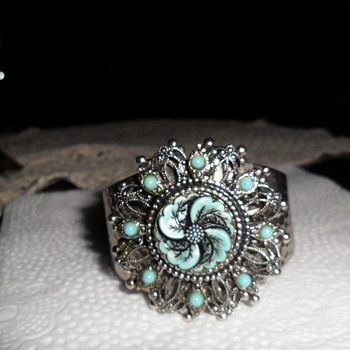 Old Silver Hammered Turquoise Bracelet and  Turquoise Necklace - Costume Jewelry