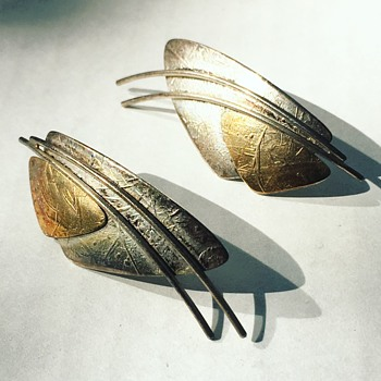 "Vintage Sterling Silver Earrings w/ 14k Gold inlay ""Ed Levin"""