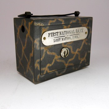 """Promotional Advertising Steel Bank""""The First National Bank, Lost Nation, Iowa, Circa 1901 - Coin Operated"""