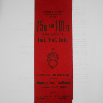 Local Civil war reunion ribbon & book - Books