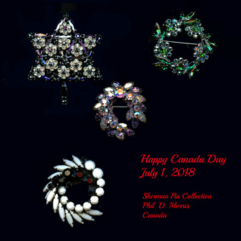 Happy Canada Day, 151 Yrs. Old, Sherman Pins including Canada Day Pin 1967 - Costume Jewelry