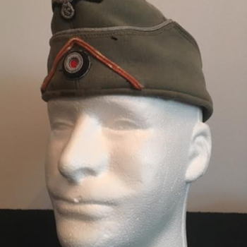 WWII German Panzer Officer's Side Cap  - Military and Wartime