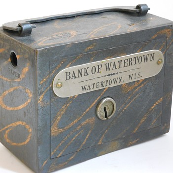 "Promotional Advertising Steel Bank""Bank Of Watertown, Wisconsin"",Circa 1895 - Coin Operated"