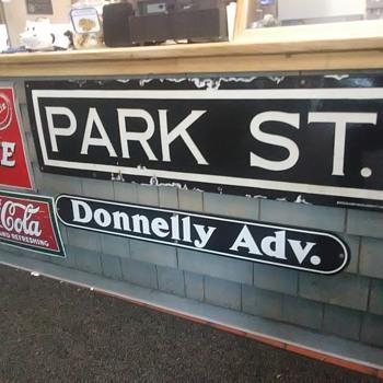 Park Street Subway station porcelain sign Boston - Railroadiana