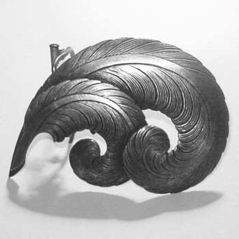 Vintage French 1930's Curled Feather Brooch and Scarf Clip - Unsigned. - Costume Jewelry