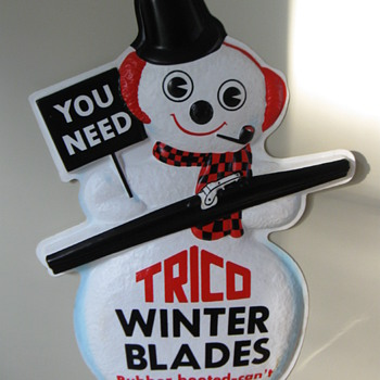 TRICO WINTER WIPER BLADES PLASTIC ADVERTISING SIGN 1970'S - Advertising