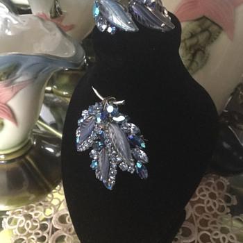 Sherman Blue Glass Leaf Brooch & Earring Set - Costume Jewelry