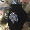 Sherman Blue Glass Leaf Brooch & Earring Set