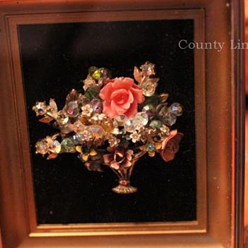 Framed Basket Pin - Costume Jewelry