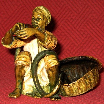 Antique Franz Bergman Cold Painted Bronze Snake Charmer - Art Deco