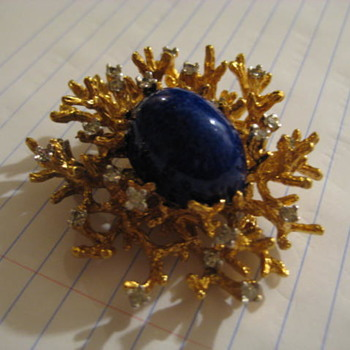 Gilded Brutalist Faux Lapis by PANETTA  - Costume Jewelry