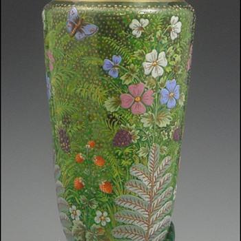 Moser and Harrach Art Nouveau Victorian Vases - Art Glass