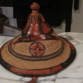 Leather Fiber African Herdsman Hat..from the Fulani People of Mali - Hats