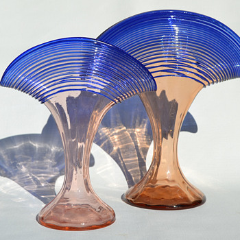 Kralik threaded fan vases - Art Glass