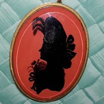 Victorian Gold Silhouette Mourning Hair Locket Pendant - Fine Jewelry