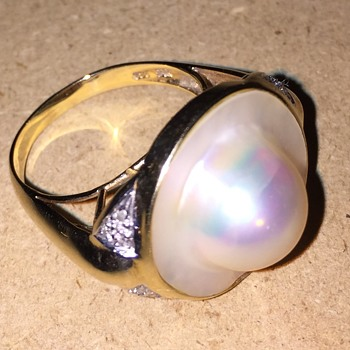 Vintage  14KT 585 Mabe Blister Pearl and Diamond Ring - Fine Jewelry
