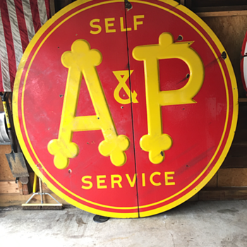 Embossed 1930's-1940's A&P 7' self service grocery store porcelain sign  - Signs