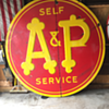Embossed 1930's-1940's A&P 7' self service grocery store porcelain sign
