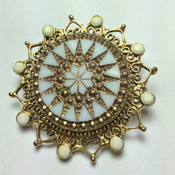 Mother of Pearl Brooch w/Goldtone Details - Fine Jewelry