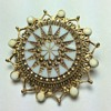 Mother of Pearl Brooch w/Goldtone Details