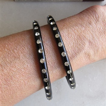 Black celluloid bangles w/clear rhinestones - Costume Jewelry