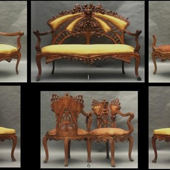 6 Piece Art Nouveau parlor set - Furniture