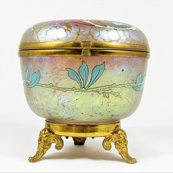 Loetz enameled Candia Papillon footed jar ca. 1900 PN II-861 DEK 4 - Art Glass