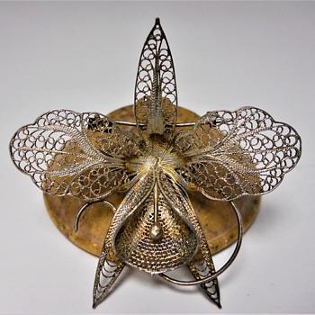 Sterling Filigree Orchid Brooch. - Fine Jewelry
