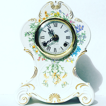 Vintage German Chime Mantal Clock w/ Floral Design - Clocks