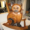 Carved cat rocking chair