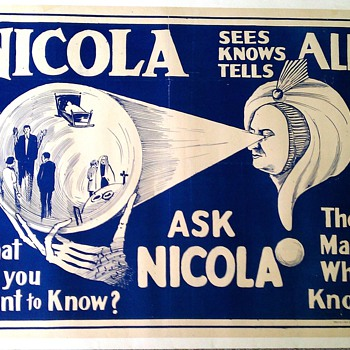"Original 1930's ""Nicola"" Stone Lithograph Poster - Posters and Prints"