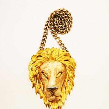 Vintage Razza Large Leo Lion Head Necklace