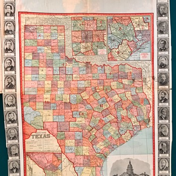 1907 Texas County Map with all Governors around Borders.  - Paper