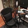 Late Victorian cane & seagrass chair & table with still life, portrait, etc...