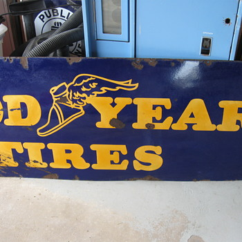 1940's PORCELAIN  GOODYEAR TIRES SIGN - Advertising