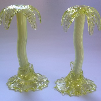Pair Victorian uranium glass Palm Tree vases - John Walsh Walsh - Art Glass