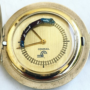 Vintage CONRAIL Pocket Watch w/ Moving Train  - Pocket Watches