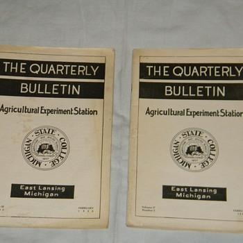 "1935/1938 Michigan State College ""The Quarterly Bulletin"" - Books"