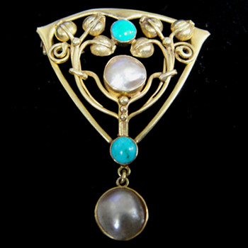 Archibald Knox design for Liberty & Co - Gold, turquoise & pearl shell brooch  - Art Nouveau
