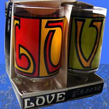 Set of Four 1960s Anchor Hocking LOVE Glasses Mint-In-Box