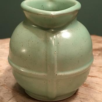 Vintage Frankoma miniature barrel pitcher vase jade green glaze